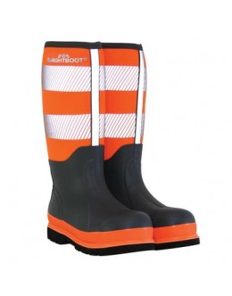 Brightboot Hi Viz wellinton Boot Orange / Grey Tall