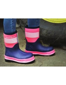 Brightboot Hi Viz Wellinton Boot -Pink /Navy Blue - Mid
