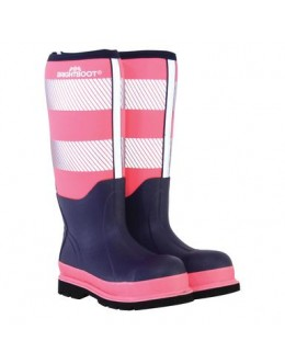 Brightboot Hi Viz Wellinton Boot - Pink /Navy Tall